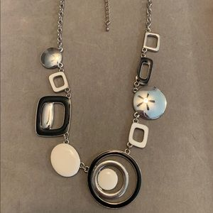 Lia Sophia My Moon Necklace Black White Silver